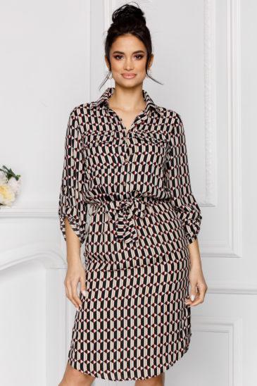 Rochie tip camasa de zi cu imprimeu geometric Nataly Multi