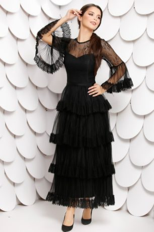 Rochie de seara neagra lunga eleganta accesorizata cu volanase Nedia