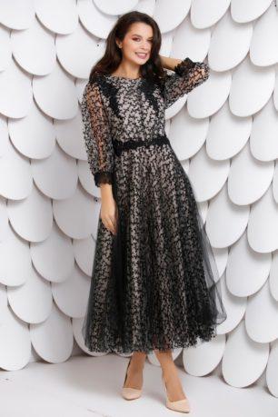 Rochie midi din tull negru de seara eleganta accesorizata cu dantela diafana Olesea