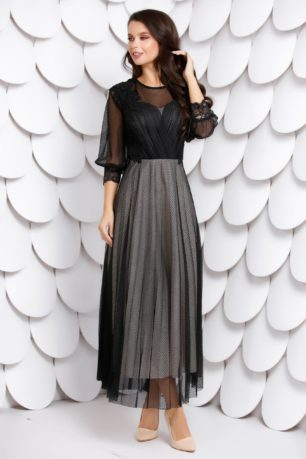 Rochie neagra lunga eleganta din dantela accesorizata cu tull Opal