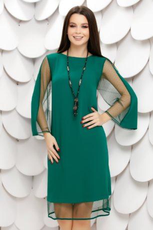 Rochie de ocazie verde cu maneci din tull cu buline si fundita la spate Ravena
