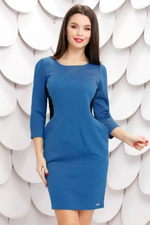 Rochie midi albastra cu buzunare maxi accesorizata cu dantela neagra Reia
