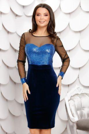 Rochie de seara bleumarin eleganta cu fusta de catifea si bust cu paiete Rhea