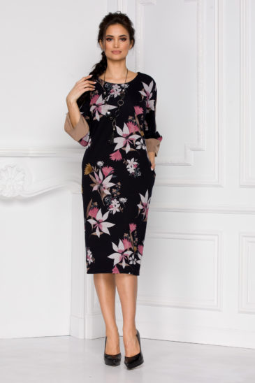 Rochie de primavara neagra cu imprimeuri florale si croi drept Rody