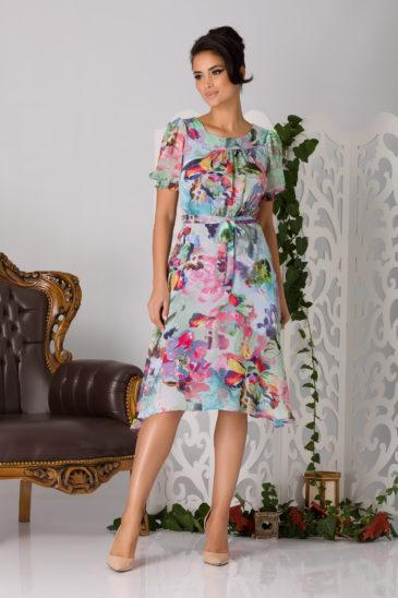 Rochie de primavara bleu cu imprimeuri florale si croi asimetric Rossie