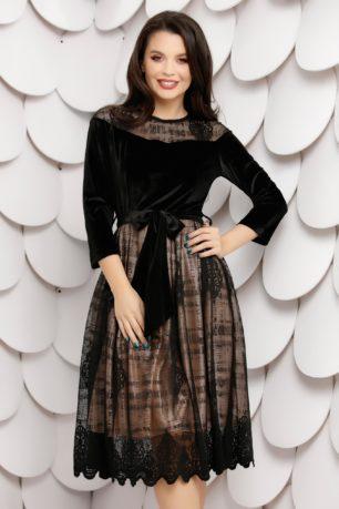 Rochie neagra eleganta de seara din catifea cu dantela Sandy