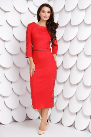 Rochie midi de ocazie rosie din piele intoarsa accesorizata cu capse metalice Scarlet