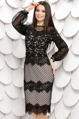 Rochie de ocazie neagra din dantela fina cu jupon crem Sebra