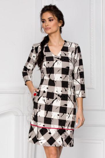 Rochie de zi alb cu negru in carouri pentru primavara Serena