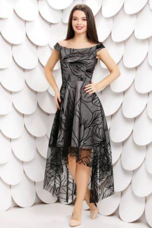 Rochie de ocazie argintie eleganta din dantela neagra cu trena Shirley