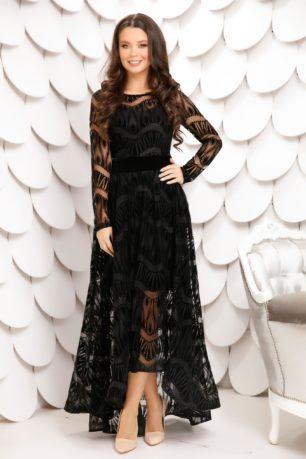 Rochie lunga neagra de seara eleganta din tull diafan cu catifea Sienna