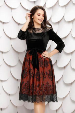 Rochie de ocazie eleganta din catifea neagra cu caramiziu accesorizata cu dantela Sindy