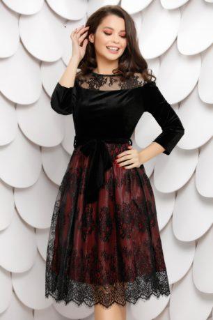 Rochie de ocazie eleganta din catifea neagra cu bordo accesorizata cu dantela Sindy