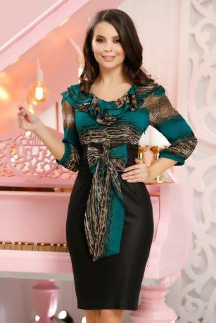 Rochie eleganta de ocazie dreapta neagra cu imprimeu deosebit verde Sofiana
