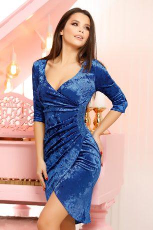 Rochie de ocazie din catifea albastra eleganta cu decolteu adanc in V Stacy