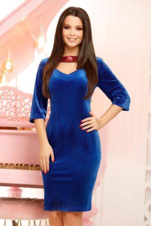 Rochie de seara eleganta albastra din catifea Urania