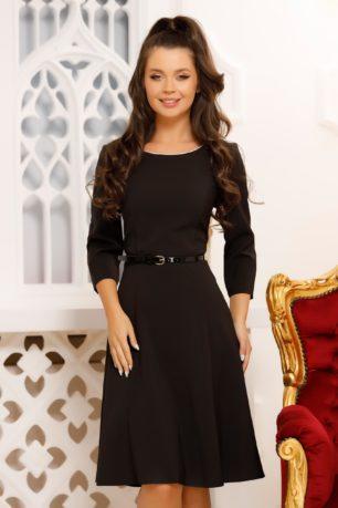 Rochie de zi neagra eleganta cu curea in talie si croi in clos Vilma