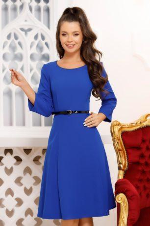Rochie de zi albastra eleganta cu curea in talie si croi in clos Vilma