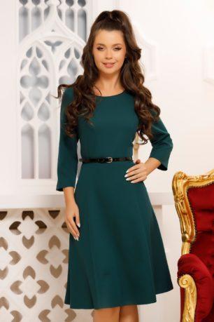 Rochie de zi verde inchis eleganta cu curea in talie si croi in clos Vilma