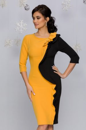 Rochia midi office negru-galben eleganta accesorizata cu volanase MBG