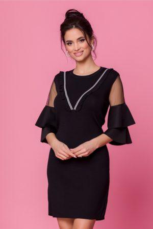 Rochie de ocazie neagra eleganta cu volanase la maneci si decolteu rotund Ana