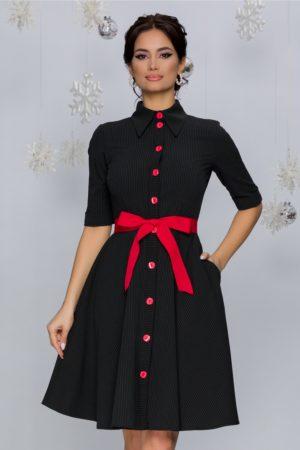 Rochie de ocazie neagra cu dungi albe si cordon rosu in talie Anaida