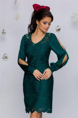 Rochie de seara verde cu broderie florala si maneci din voal satinat Anais
