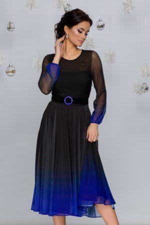 Rochie de ocazie midi negru cu albastru in degrade stil ombre cu fusta plisata din tull Andra