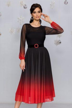 Rochie de ocazie midi negru cu caramiziu in degrade stil ombre cu fusta plisata din tull Andra