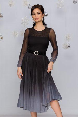 Rochie de ocazie midi negru cu gri in degrade stil ombre cu fusta plisata din tull Andra
