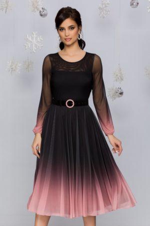 Rochie de ocazie midi negru cu roz in degrade stil ombre cu fusta plisata din tull Andra