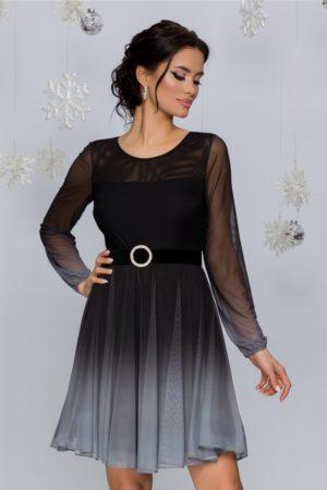 Rochie de botez eleganta negru cu gri in degrade cu fusta scurta plisata Andreea