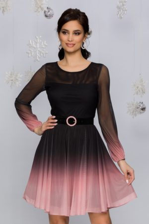 Rochie de botez eleganta negru cu roz in degrade cu fusta scurta plisata Andreea