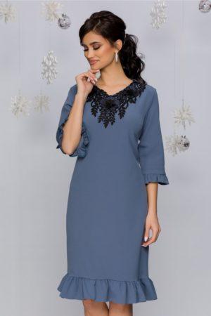Rochie midi eleganta bleu cu broderie florala si margelute Angela