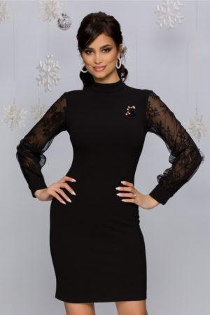 Rochie scurta neagra de ocazie eleganta cu maneci lungi din dantela si tull Ayana