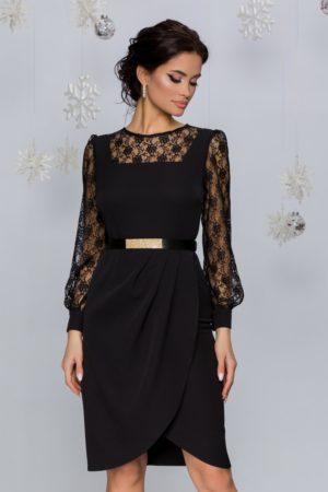 Rochie de ocazie midi neagra accesorizata cu dantela florala si curea in talie Azazy
