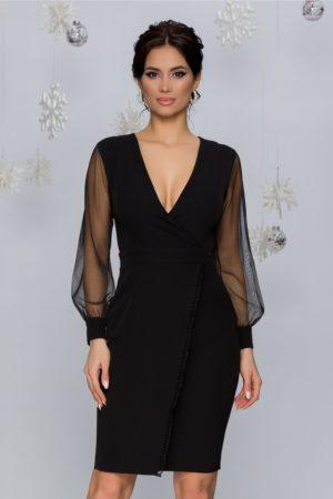 Rochie scurta neagra eleganta cu design petrecut si maneci din tull Bella
