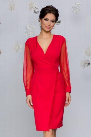 Rochie scurta rosie eleganta cu design petrecut si maneci din tull Bella