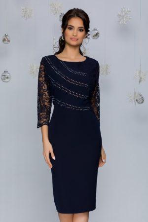 Rochie de seara bleumarin midi eleganta accesorizata cu dantela si strasuri Callie
