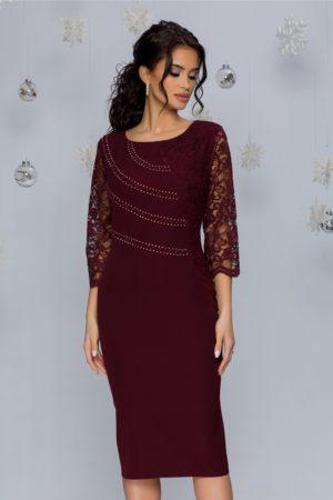 Rochie de seara bordo midi eleganta accesorizata cu dantela si strasuri Callie