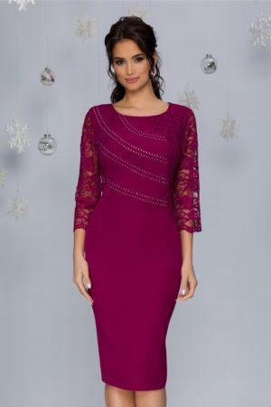 Rochie de seara magenta midi eleganta accesorizata cu dantela si strasuri Callie