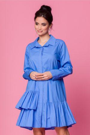 Rochie de zi feminina albastra din bumbac cu volanase si maneci lungi Carolina