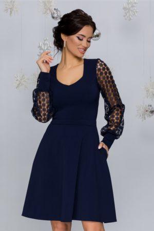 Rochie de ocazie bleumarin eleganta cu maneci din tull cu broderie florala Carolina