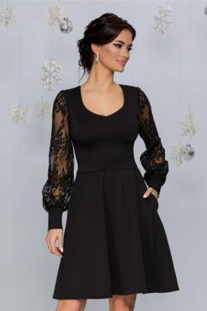 Rochie de seara neagra eleganta cu maneci din tull si broderie cu paiete Carolina