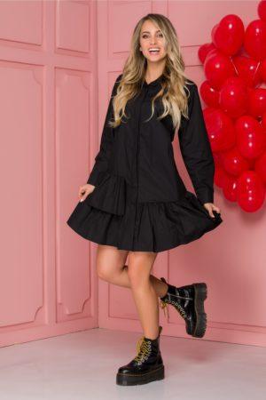 Rochie de zi feminina neagra din bumbac cu volanase si maneci lungi Carolina