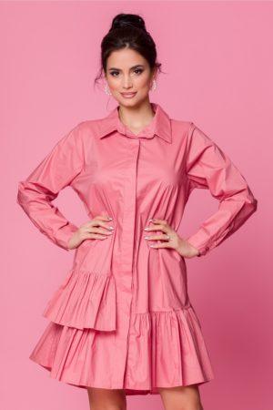 Rochie de zi feminina roz prafuit din bumbac cu volanase si maneci lungi Carolina