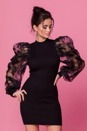 Rochie de seara scurta neagra cu maneci bufante realizate din tull brodat Casya