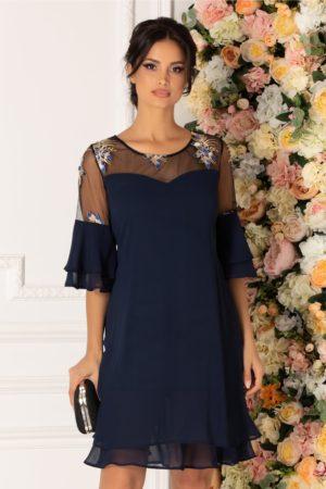 Rochie de seara din voal bleumarin cu broderie florala si croi larg pentru femei plinute Chrisa
