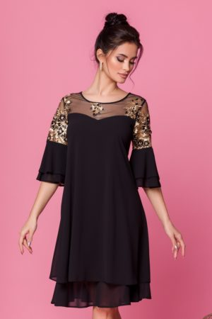Rochie de seara din voal negru cu broderie florala si croi larg pentru femei plinute Chrisa