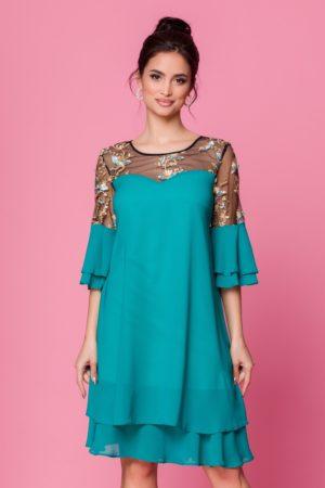 Rochie de seara din voal turcoaz cu broderie florala si croi larg pentru femei plinute Chrisa